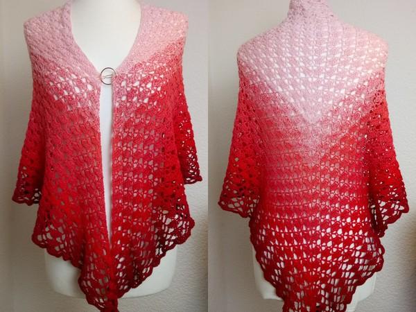 Dreieckstuch häkeln // Rosa++Rot++Bobbel