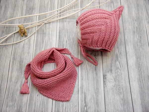 Knitting Pattern – Pixie Set - Baby Cap & Triangular Scarf – No.188E