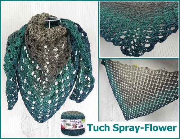 "Tuch ""Spray-Flower"" mit 1 BOBBEL-COTTON XTRA von Woolly Hugs"