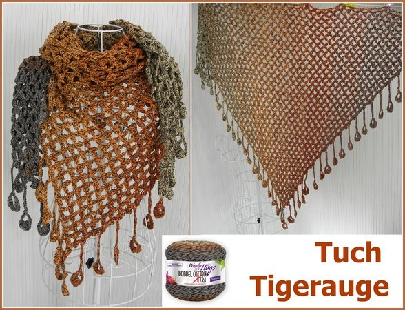 "Tuch ""Tigerauge"" mit 1 BOBBEL-COTTON XTRA von Woolly Hugs"
