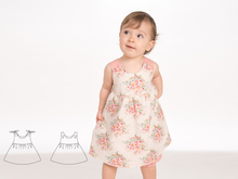 CLARA Baby Pinafore dress for girls with ruffled skirt sewing pattern pdf