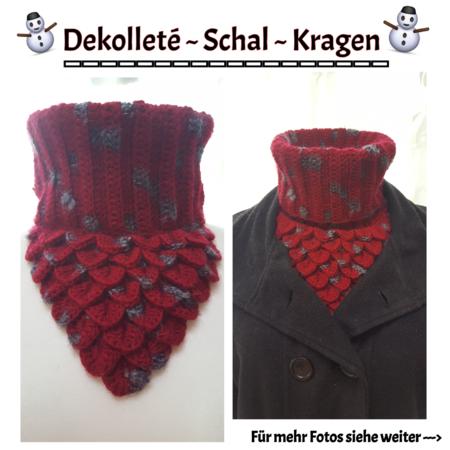 Dekolletè - Schal - Kragen mit Krokodil-Stich