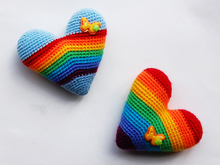 Amigurumi pattern for Rainbow heart souvenirs. Valentine's Day gift