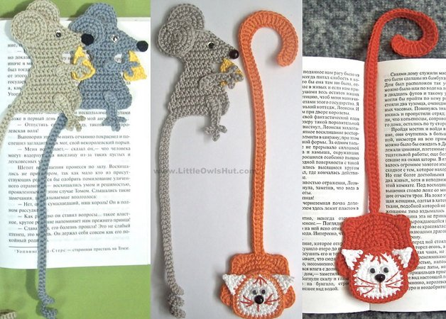 024 Crochet Pattern - Cat and MousE-Bookmarks or decor - Amigurumi PDF file by Zabelina CP