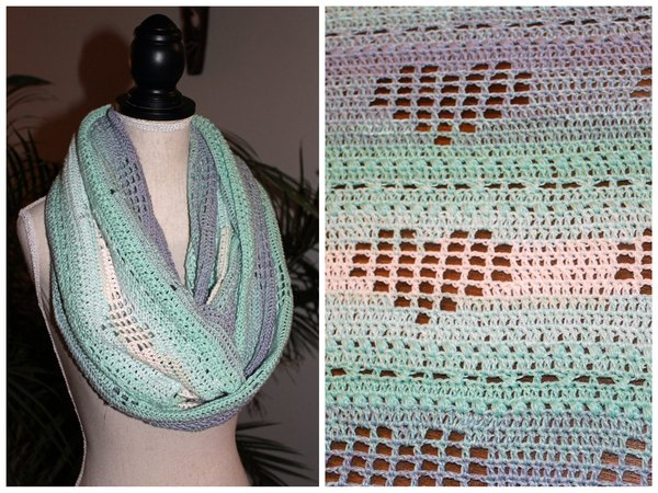"Crochet pattern: Infinity Scarf ""Heartbeat"" - absolutely romantic ♥"