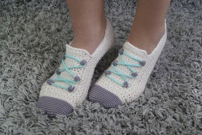 Haussocken Häkeln Sneaker Style Gr 36 43