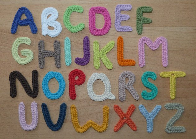 Crochet pattern for small letters from A to Z, quick and easy made