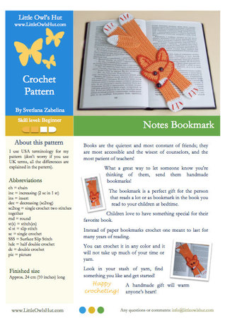 011 Crochet Pattern - Fox bookmark or decor - Amigurumi PDF file by Zabelina CP