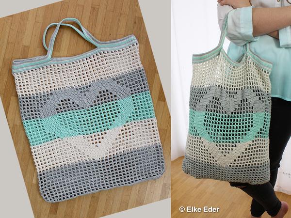 Einkaufsnetz Tasche Beutel mit Herz in Mint, Grau und Natur ...