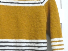 Petit Paris Mustard Yellow Navy and Cream Stripes Jumper Sweater