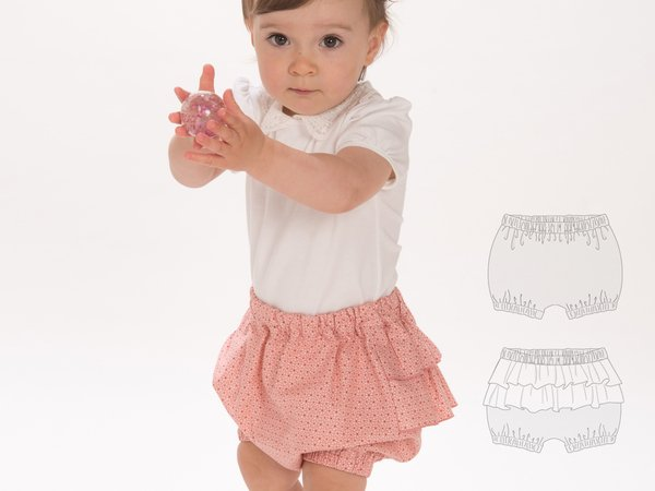 EMI Baby diaper cover bloomers sewing pattern pdf with elastic at hem and ruffles. Pants Ebook pdf