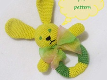 Baby rattle rabbit,crochet rattle for newborn.
