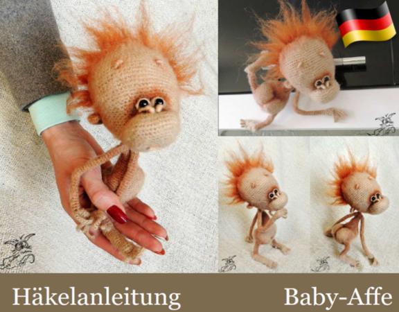 084DE Häkelanleitung Baby-Affe - Amigurumi PDF Pertseva