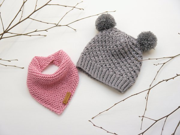"Knitting Pattern –Baby Cap ""Little Star"" & Triangular Scarf – No.192E"