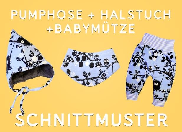 Set Pumphose, Halstuch, Babymütze – Schnittmuster PDF