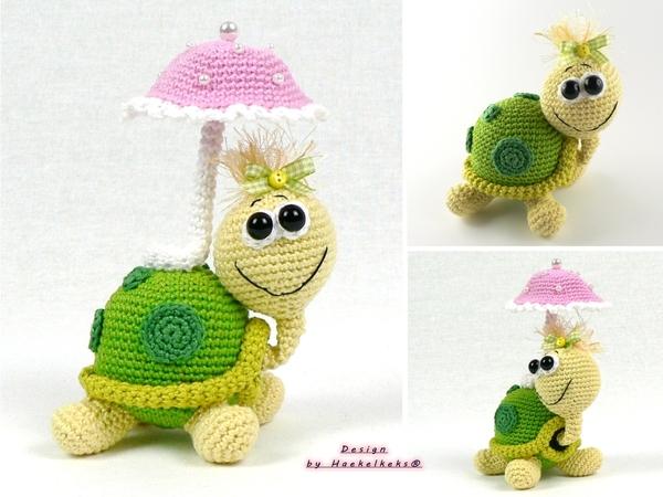 Crochet Turtle Animal With Umbrella