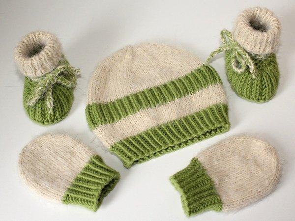 Strickanleitung Babymütze, Babyschuhe, Baby Handschuhe im Set, 0 5 Monate