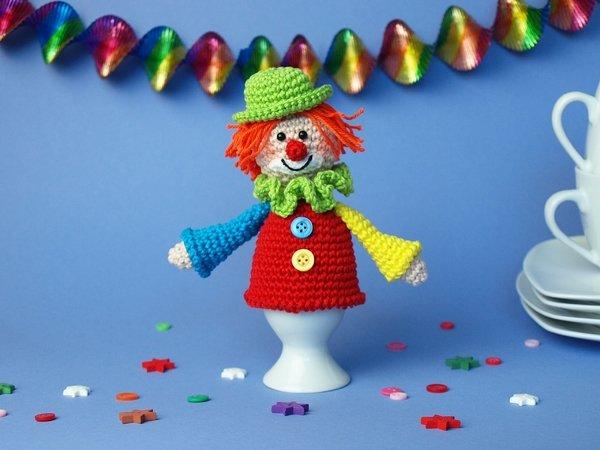 Eierwärmer häkeln / Clown als Eierwärmer