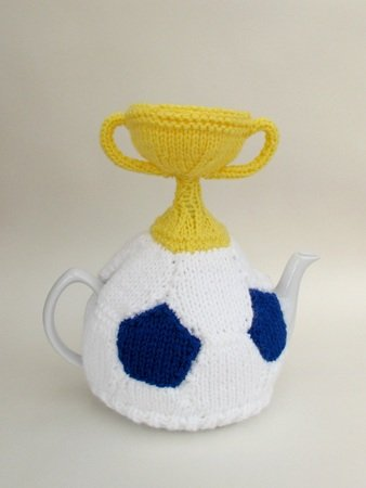 Football and World Cup Trophy Tea Cosy