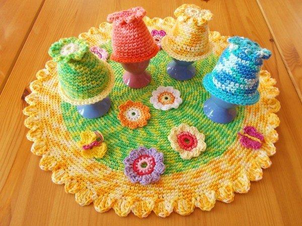 Bunte Frühlingswiese Eierwärmer Mit Tischset Häkeln Resteverwertung