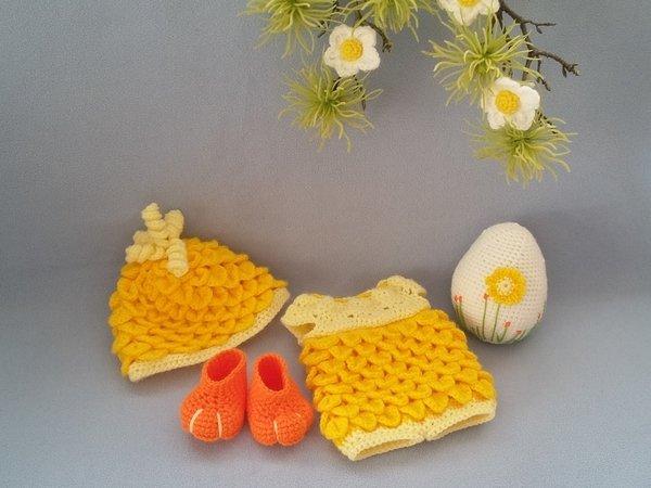 Puppenkleidung häkeln /// Osterküken-Kostüm