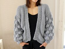Knitting Pattern – Cardigan BUBBLES (S/M and L/XL) – No.194E