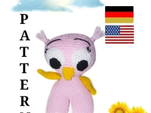 pattern amigurumi cute owl PDF english-deutsch