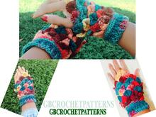 Crochet Pattern fingerless gloves, easy crocodile mitts, crocodile gloves, embossed crochet, with video links