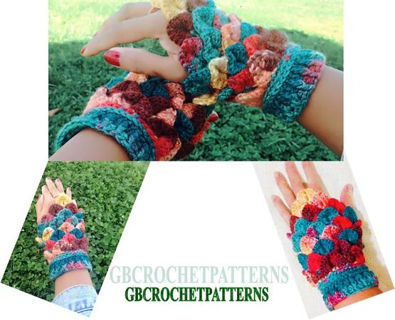 Crochet Pattern Fingerless Gloves Easy Crocodile Mitts Crocodile