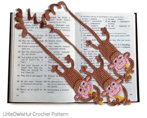 029 Crochet Pattern -  Monkey bookmark or decor - Amigurumi PDF file by Zabelina CP