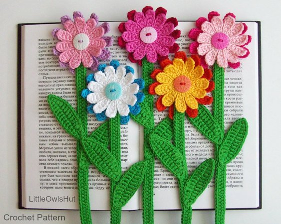 068 Crochet Pattern - Gerber Flower bookmark or decor - Amigurumi PDF file by Zabelina CP