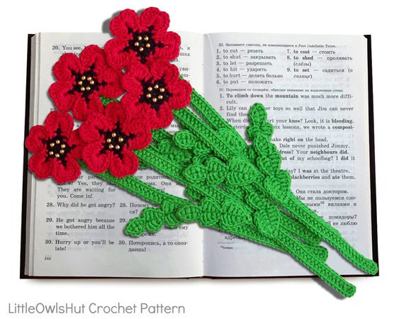 075 Crochet Pattern - Poppy flower bookmark or decor - Amigurumi PDF file by Zabelina CP