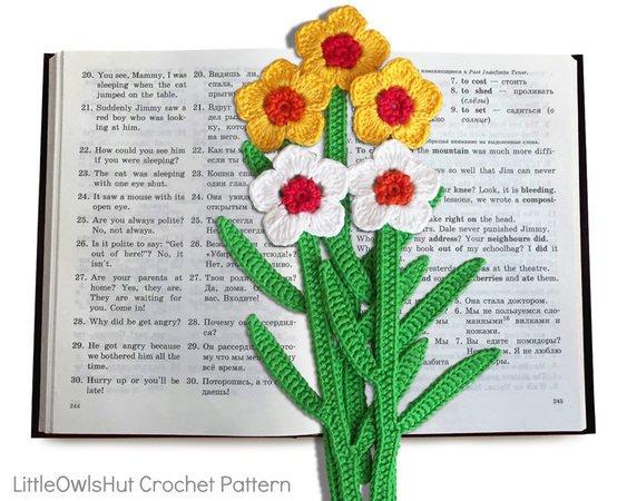 049 Crochet Pattern Daffodil Flower Bookmark Or Decor Amigurumi