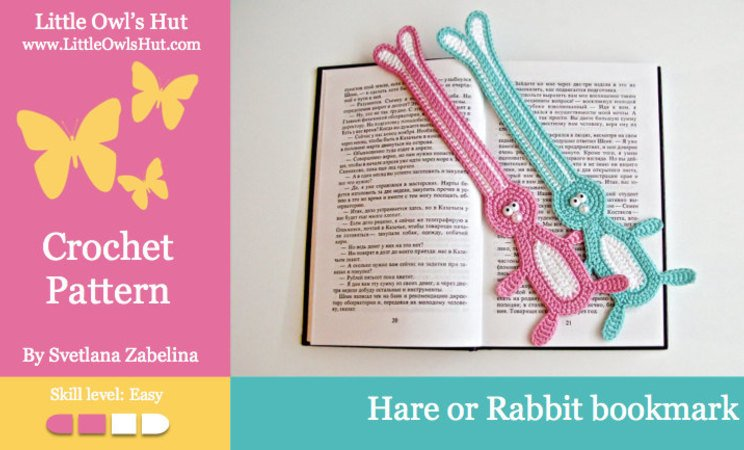 115 Crochet Pattern - Easter bunny, hare, rabbit bookmark or decor - Amigurumi PDF file by Zabelina CP