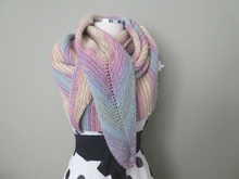 Unicorn Faded Rainbow Knitted Shawl Wrap with Mitred Centre Long Triangle