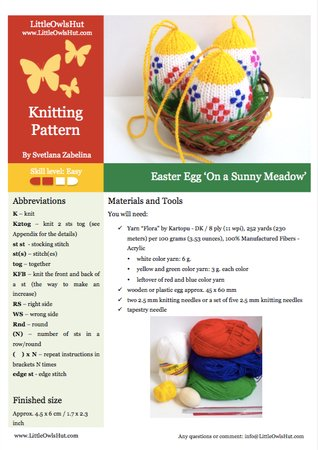 186 Knitting Pattern - Easter Egg On a Sunny Meadow - Decor by Zabelina CP