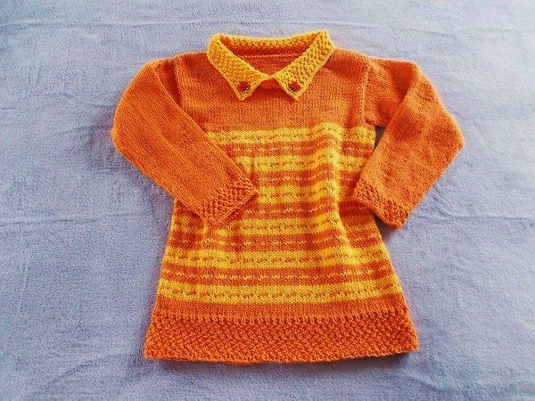 Kinderpullover Und Strickkleid Für Mädchen Mit Kragen Wächst Mit