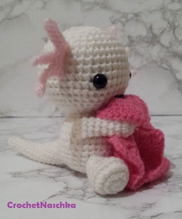 Crochetpattern Axolotl with blanket
