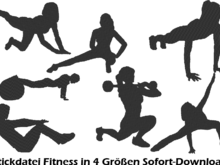 Stickdatei Fitness Girl Sport Silhouette
