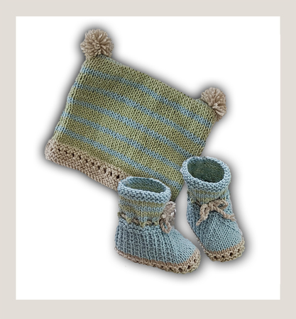 DK  - Bunnykids Playsuit Booties and Beanie Set  - 3 to 36 months
