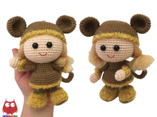 188 Crochet Pattern - Girl Doll in a Viking Monkey outfit - Amigurumi Stelmakhova CP