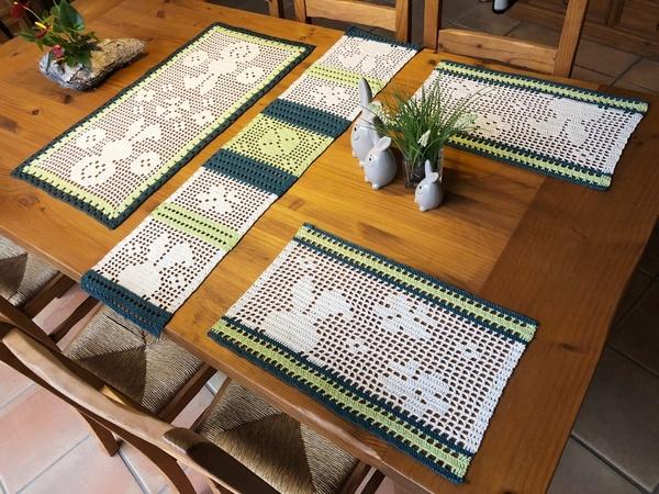 Häkeln Sparset 3 In 1 Tischband Platzdeckchen Und Tischläufer