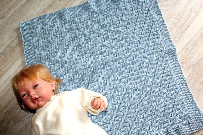 Strickanleitung Babydecke Plaid Wagendecke Strukturmuster Für