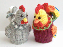 187 Knitting Pattern - Egg cozy Hen and Cockerel Rooster with eggs - Amigurumi - by Zabelina CP