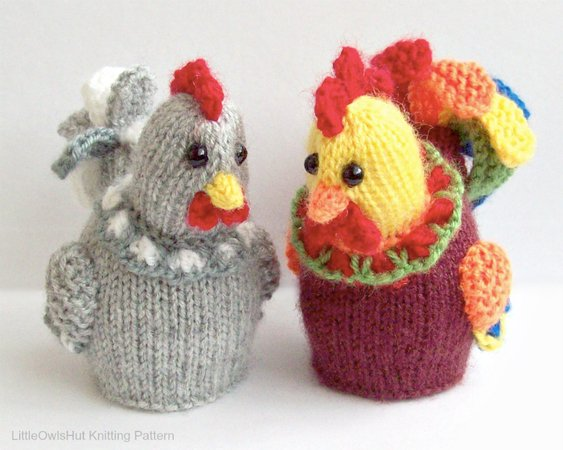 187 Knitting Pattern Egg Cozy Hen And Cockerel Rooster With Eggs