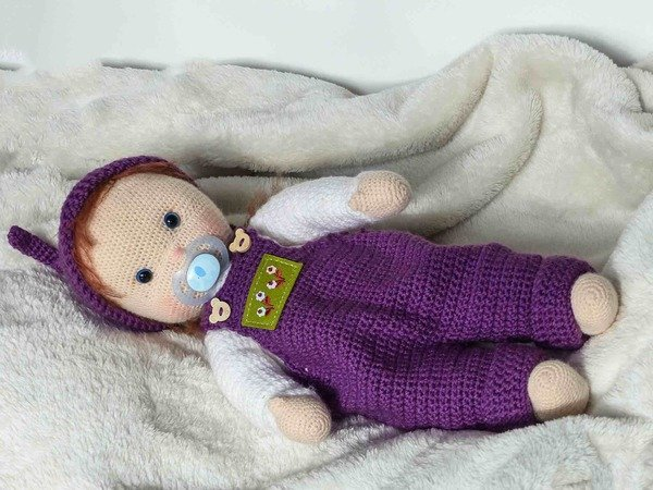 "Dollclothes overall ""Lilly"", Crochetpattern for 11""-19"" dolls, Knotenzeug, Pattern for dolls"
