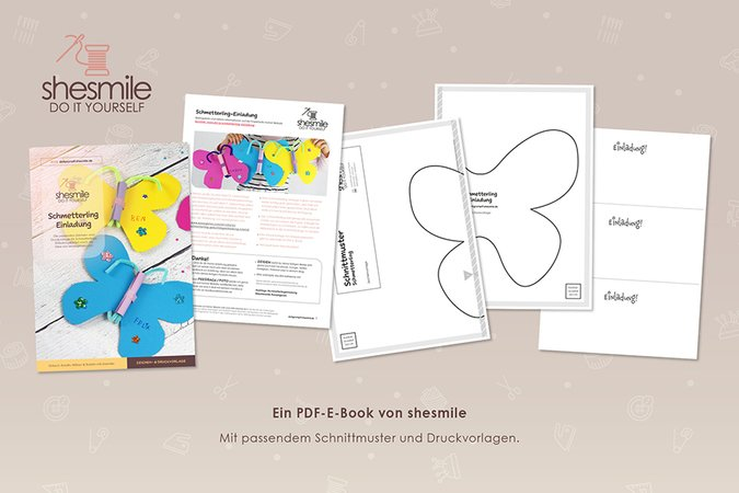 Schmetterling-Einladung (Kostenlose Bastelanleitung & Druckvorlage)