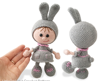 190 Crochet Pattern - Girl Doll in an Easter Bunny Rabbit outfit - Amigurumi PDF file by Stelmakhova CP