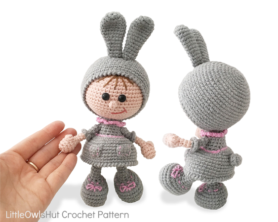 190 Crochet Pattern - Girl Doll in an Easter Bunny Rabbit outfit ...