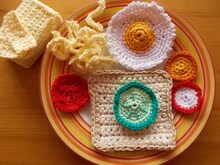 Favorit Essen für die Spielküche häkeln - Toast, Butter, Spiegelei, Gemüse VG06